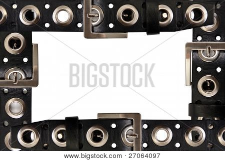 frame of the belts isolated on white background