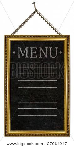 menu board . isolated on white.