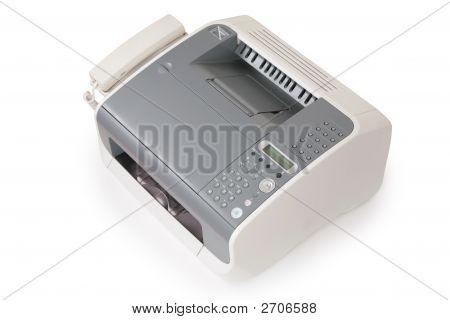 Fax y teléfono aislado en blanco