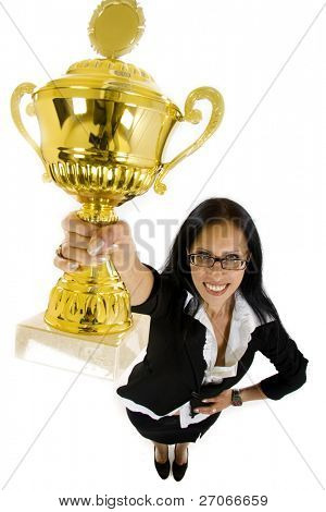 wide angle picture of an attractive businesswoman winning a cold cup