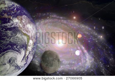 Earth, Moon and Milkyway