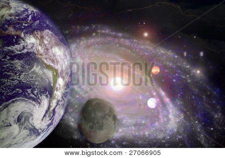 Earth, Moon and Milkyway