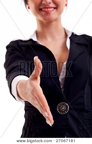 Young business woman ready to handshake isolated on white background
