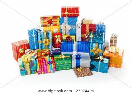 Stack Of Colorful Christmas Presents
