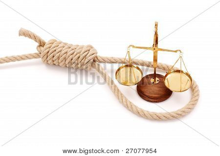 Miniature Scale In Gallows Rope