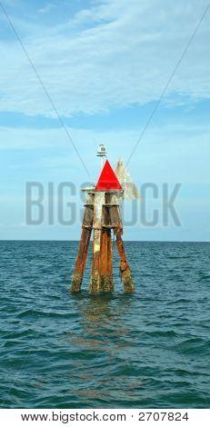 Channel Marker Off Coast Of Miami