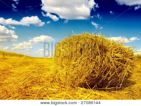 Haystack and blue sky