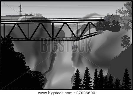 illustration with bridge above precipice
