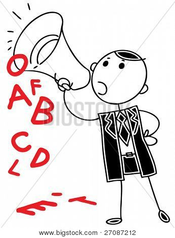 Cartoon doodle businessman speaking into megaphone