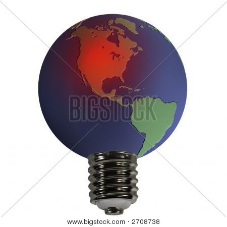 Globe With An Overheated Usa