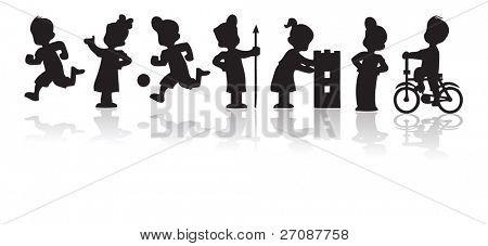 Sistema de la silueta de los niños