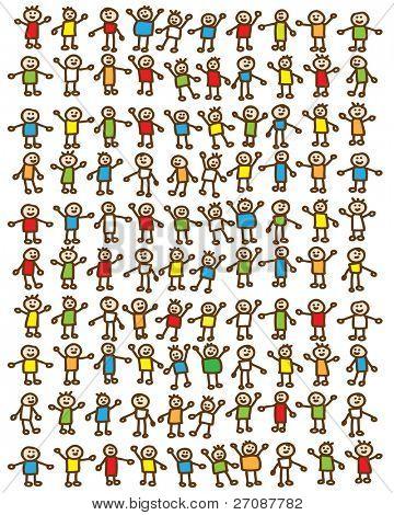One hundred doodle children