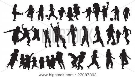 Happy kids silhouette