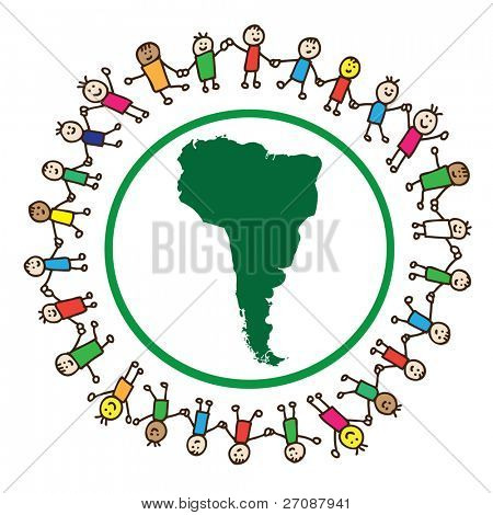 Children united holding hands around South America continent