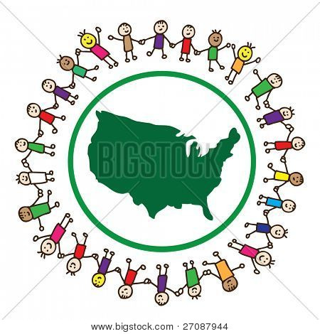Children united holding hands around United States of America
