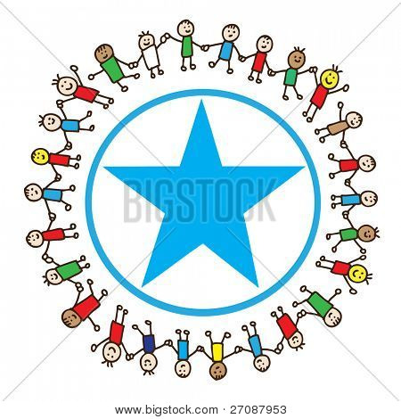 Children around a star symbol holding hands