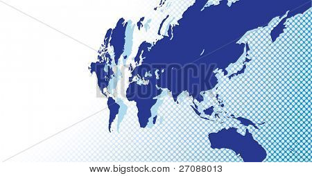 Beautiful blue world map