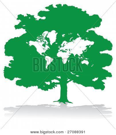 Green world map tree