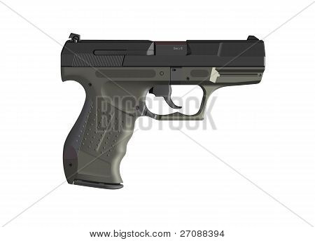Detailed hand gun illustration isolated on white
