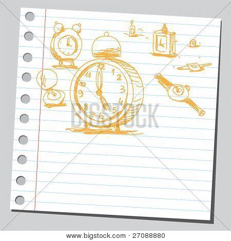 Gekritzel Uhren