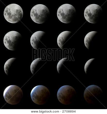Digitally Enhanced Moon Eclipse In Brazil, February 2008