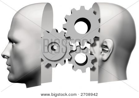 Man Head Front & Back Thinking Gears
