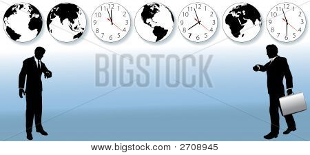 World Business People Time Zone Travel Clock