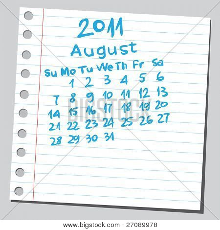 "Scribble calendar.""August 2011"""