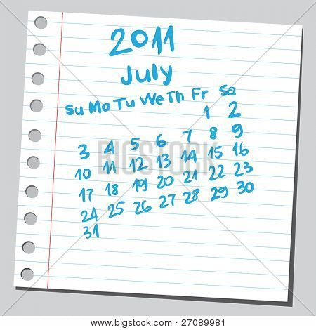 "Scribble calendar. ""July 2011"""
