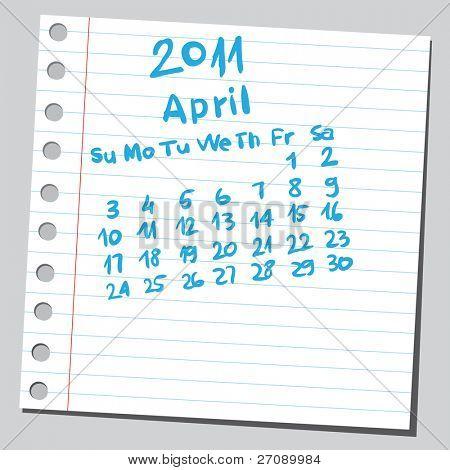 "Scribble calendar. ""April 2011"""