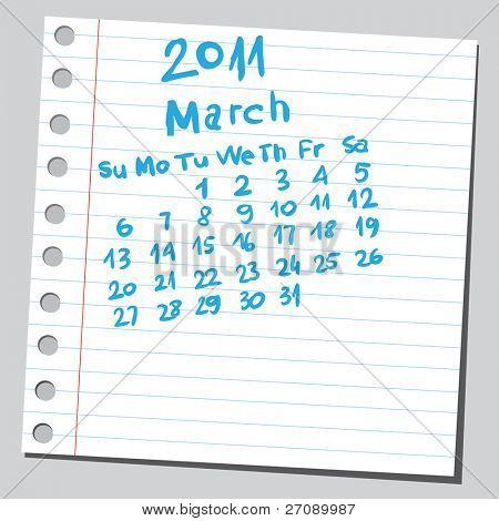 "Scribble calendar. ""March 2011"""