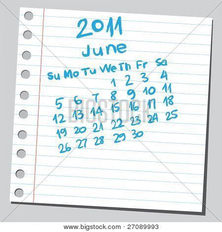 "Scribble calendar.""June 2011"""