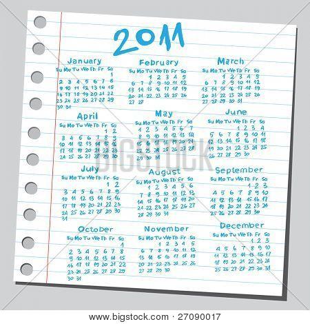 """Kritzeln Sie """"2011 Kalender""""."""