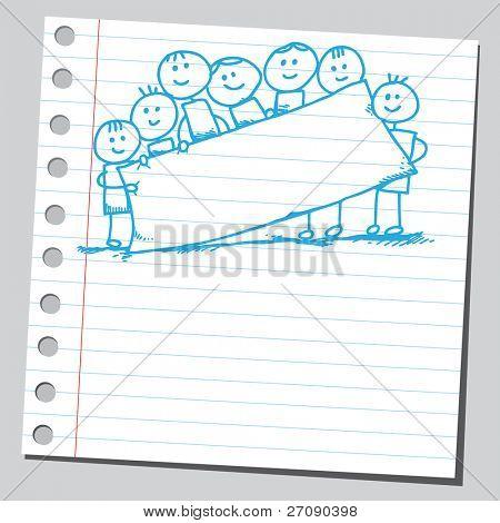 Hand drawn niños sosteniendo la bandera vacía