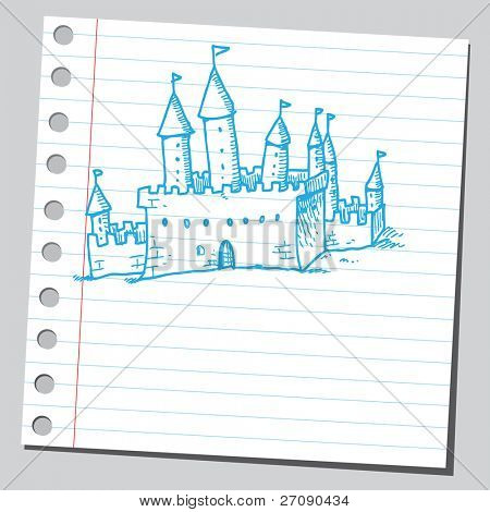 Hand drawn old castle