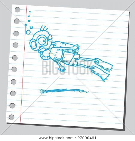 Hand drawn diver