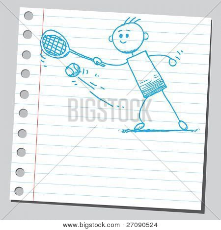 Hand drawn tennis player striking a tennis ball