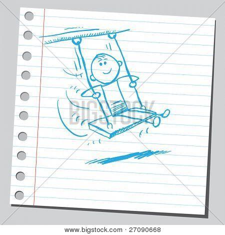 Kid dibujado a mano oscilante