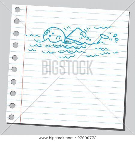 Hand gezeichnete Schwimmer