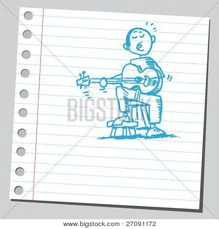 Scribble style illustration guitarist