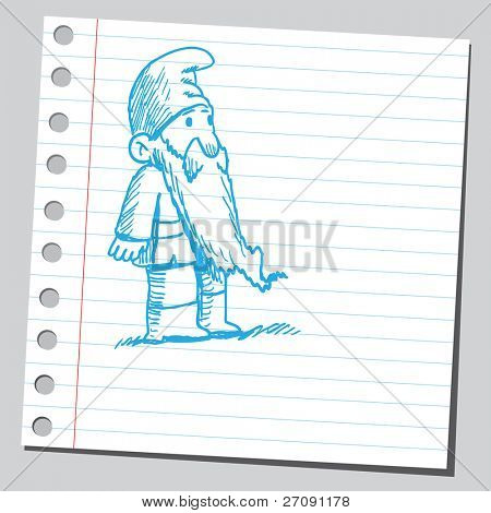 Scribble style illustration of a dwarf