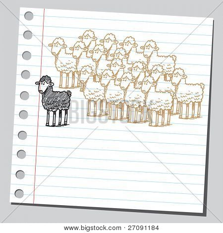 Scribble style illustration of a black sheep in front of a group of sheeps