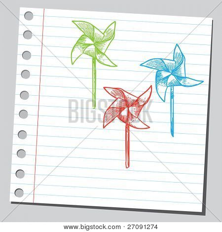 Sketch style vector illustration of a colorful pinwheels