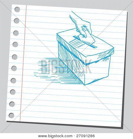 Desenho ilustração vetorial de estilo de uma mão colocando a cédula de votação em uma caixa de votação