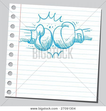 Sketch style vector illustration of a boxing punch
