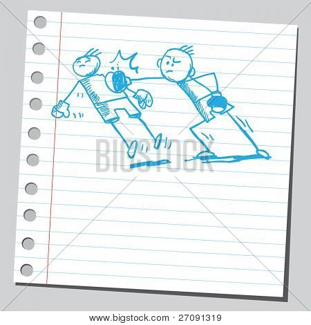 Sketch style vector illustration of a boxing fight