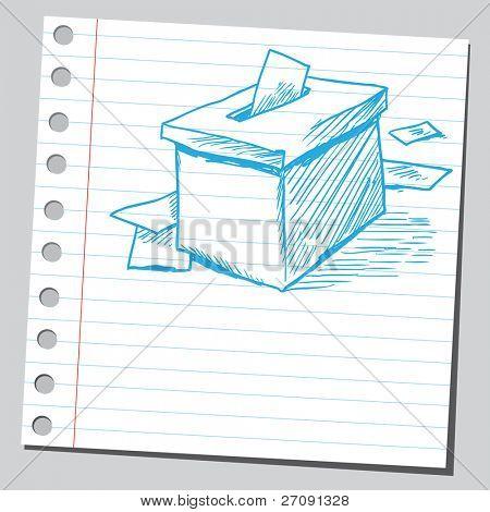 Bosquejo de la ilustración del vector de estilo de una caja de votación