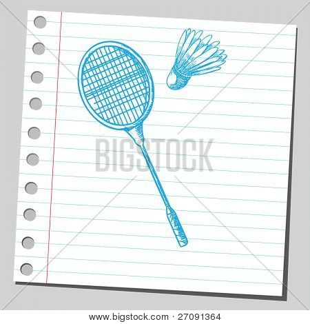 Sketch style vector illustration of a badminton racket and shuttlecock