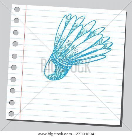 Sketch style vector illustration of a badminton shuttlecock
