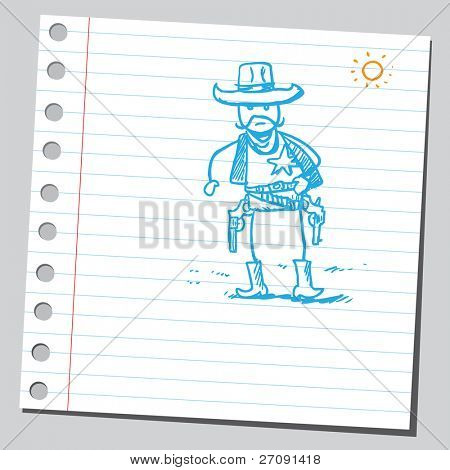 Sketch style illustration of a sheriff